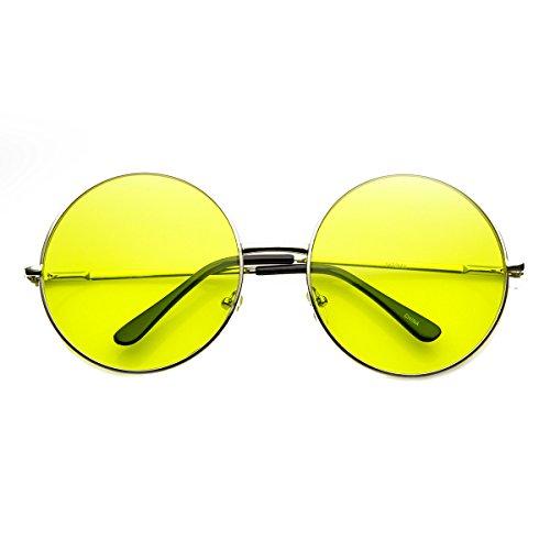 zeroUV - Womens Fashion Oversized Color Tint Lens Metal Circle Round Sunglasses - Usa Lens Circle
