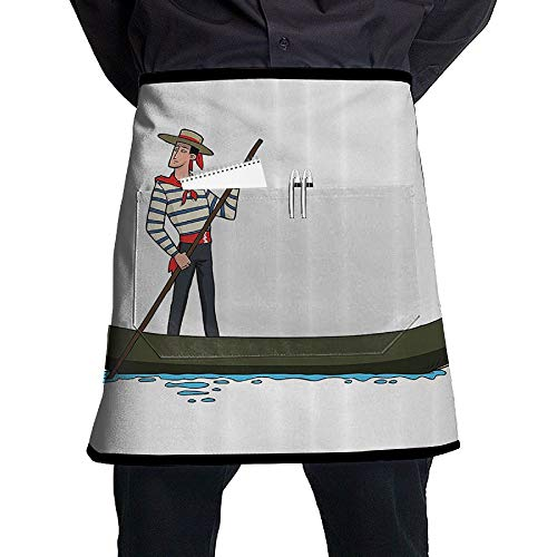 GHDSKH Gondolas in The Romantic City of Venice Waist Aprons Commercial Restaurant Home Bib Spun Poly Polyester Kitchen for Unisex