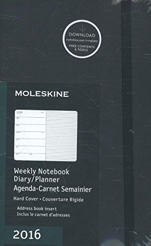 - Moleskine 2016 Weekly Notebook, 12M, Large, Black, Hard Cover (5 x 8.25)