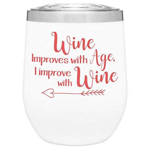 Stainless Steel 12 oz Stemless Wine Glass Tumbler with Lid   Double Wall Copper Vacuum Insulated   Fun Novelty Drinkware   Unique Gift Idea for Women   Adult Sippy Cup With Funny Sayings (Matte White)
