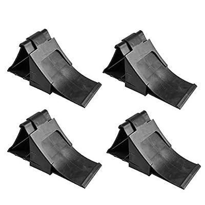 APT 4X Unterlegkeile mit Halter in Schwarz für Wohnmobil Anhänger Bremskeile Hemmschuhe