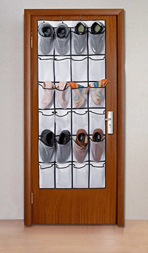 Stash shoes behind the door with the these hanging pockets.
