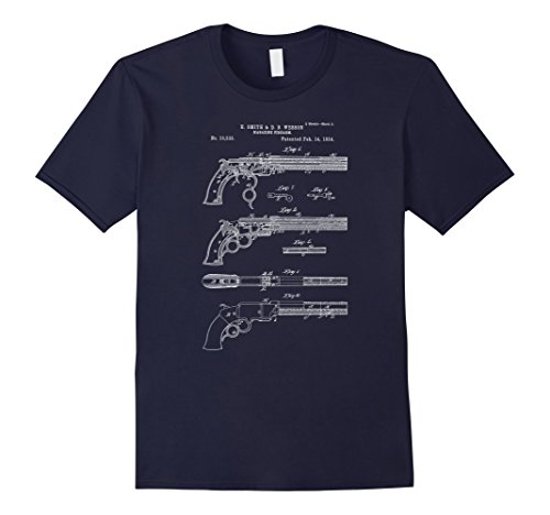 Mens Vintage Patent Print 1854 Old West Six Shooter Gun T-Shirt Medium Navy