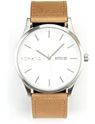 The Nomatic Leather Band Water Resistant Watch - White and Tan