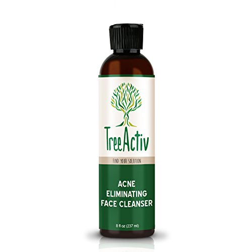 TreeActiv Acne Eliminating Face Cleanser | Natural Facial Treatment Cleansing Skin Wash | Castile Soap | Sulfur | Charcoal | Vitamin C | Peppermint | Men Women Teens | Sensitive | Unscented | 8 fl oz