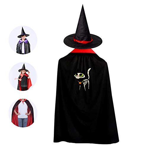69PF-1 Halloween Cape Matching Witch Hat Terrible Cat Wizard Cloak Masquerade Cosplay Custume Robe Kids/Boy/Girl Gift Red -