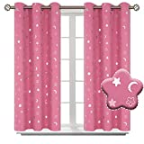 BGment Moon and Stars Blackout Curtains for Girls