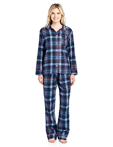 - Ashford & Brooks Women's Flannel Plaid Pajamas Long Sleeve Button Down Pj Set, Navy/Pink, XL
