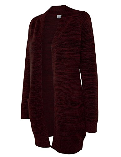 Cielo Women's Chunky Duster Marbled Knit Long Cardigan Sweater Burgundy M