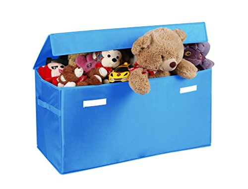 JUMBO Collapsible Toy Chest for Kids (XX-Large) Toy Organizer, Huge Storage Basket w/ Flip-Top Lid | Organizer Bin for Bedrooms, Closets, Child Nursery | Store Stuffed Animals, Games, Clothes, Shoes - Kid Friendly Bin Organizer