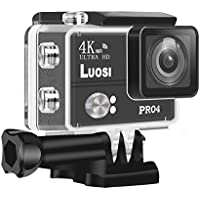 LUOSI 4K WIFI Waterproof Sports Action Camera Ultra HD 20MP Wide Angle Lens Sony Sensor 2.0 Inch LCD Display Rechageable 1500mAh Battery Portable Package