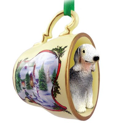 Bedlington Terrier Tea Cup Snowman Holiday - Ornament Terrier Teacup Christmas