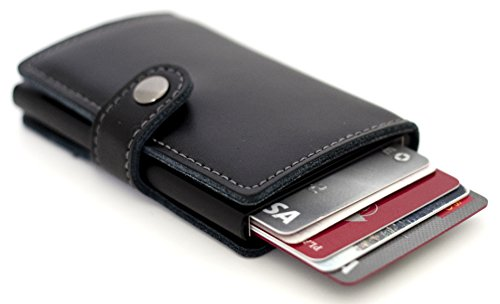 Dennison mens mini wallet genuine leather slim rfid safe business dennison mens mini wallet genuine leather slim rfid safe business card holder automatic pop up card case buy online in uae apparel products in the reheart Choice Image