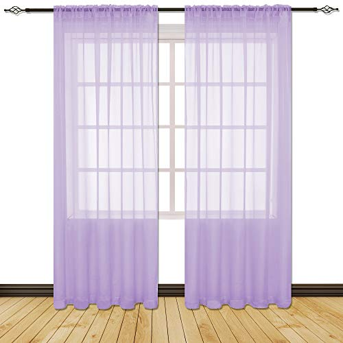 (HOLKING 2 Piece Sheer Window Curtains Panels 84 inch Length Purple Rod Pocket Sheer Voile Window Curtains Toal is 104 inches Wide by 84 inches Long)