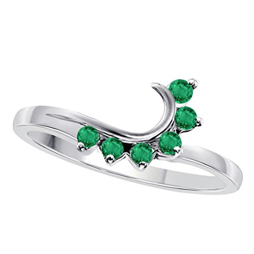 Jewelryhub 14K White Gold Plated .925 Sterling Silver Round CZ Green Emerald Wedding Band Enhancer Guard Double Ring - Emerald Solitaire Enhancer