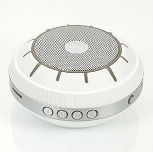 White Stylish Portable Premium Sound Wireless Audio Bluetooth Speaker w Handsfree Microphone for US Cellular Samsung Repp, US Cellular ZTE Grand S Pro, US Cellular ZTE Render, Verizon Casio G-zOne Commando 4G LTE, Verizon HTC Thunderbolt 4G, Verizon HTC Desire 612