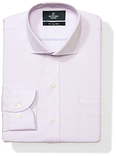 Mens Cutaway Collar Shirt - Buttoned Down Men's Slim Fit Cutaway-Collar Solid Non-Iron Dress Shirt (Pocket), Purple, 17
