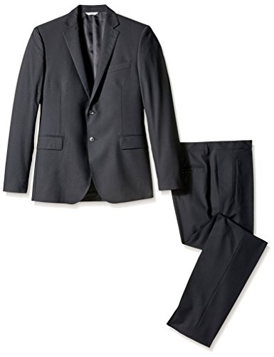 Pierre Balmain Men's Striped 2 Button Flap Pocket Suit, Black, 50R ()