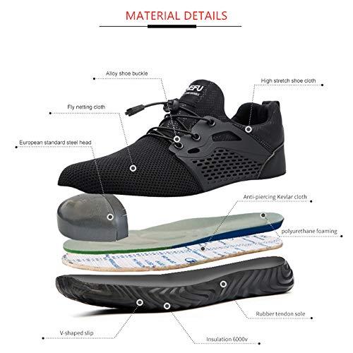 Chaussure de Securité Homme Femme Bottes Travail Chantiers Industrie Sneakers Protection Embout en Acier Basket de… 3