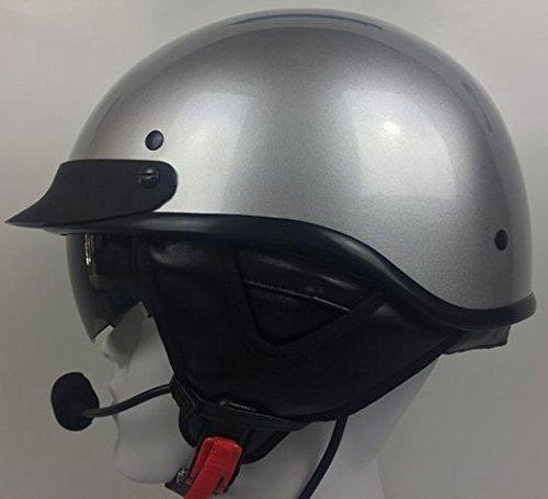 Half Helmet With J&M 284 Headset / Intercom for BMW 6 Pin Silver - 284 Helmet Headsets