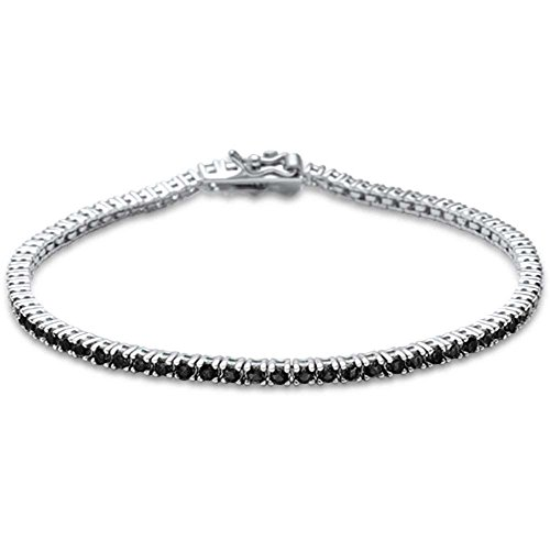 Oxford Diamond Co 2.5MM ROUND 4 prong Tennis Black Onyx Cubic Zirconia .925 Sterling Silver Bracelet 7.25