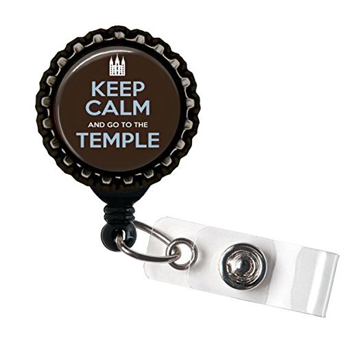 Logo Temple Metal (Keep calm Go to the Temple ID Badge Holder Retractable Reel Bottle cap)