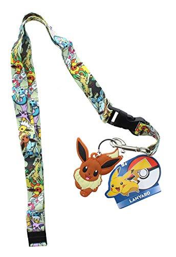 Pokemon Characters Buckle Lanyard Keychain Holder with Eevee Rubber Charm -