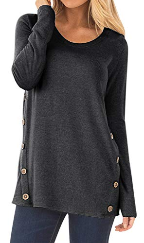 DEARCASE Women's Casual Long Sleeve Faux Suede Loose Tunic Button Blouses Shirt Tops