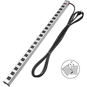Bestten 20 Outlets Heavy Duty Metal Power Strip with 15-Foot Ultra Long Extension Cord, ETL Certified, Silver