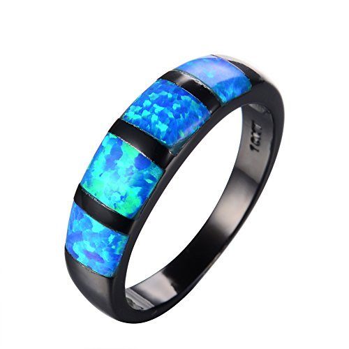 RongXing Jewelry Simple New Aquamarine Blue opal Ring,14KT Black Gold Engagement Rings Sz 6