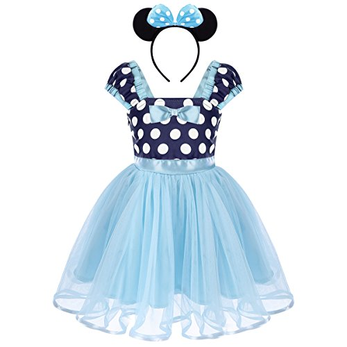 Toddler Baby Girls Polka Dots Princess Birthday Party Fancy Costume Tutu Dress Up 3D Mouse Ears Headband 1-4T Blue Dress + Bow Ear Headband 4-5 Years ()