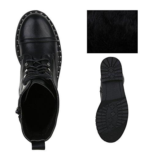 Stiefelparadies Damen Stiefeletten Schnürstiefeletten Wildleder-Optik Freizeitschuhe Flandell Schwarz Black Nieten Black
