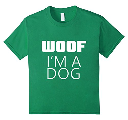 Woof Boy Costume (Kids I'm A Dog Woof Costume for Halloween Parent Mom Dad T-Shirt 8 Kelly Green)