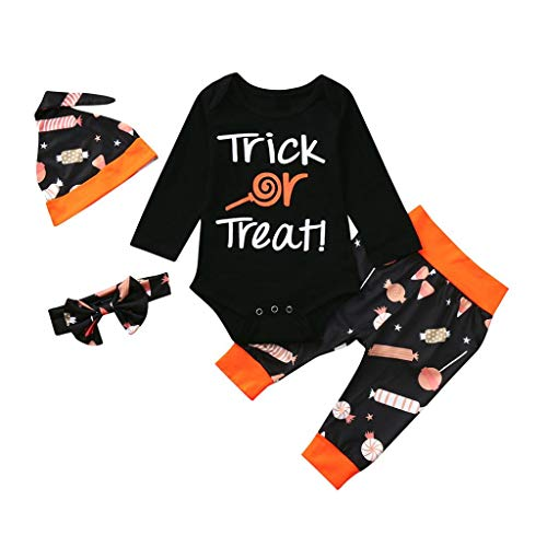 Toddler Baby Girls Boys 4Pcs Clothes Sets for 0-24 Months,Long Sleeve Letter Tops Trousers Hat Hair Band Halloween Outfits (6-12Months, Black)