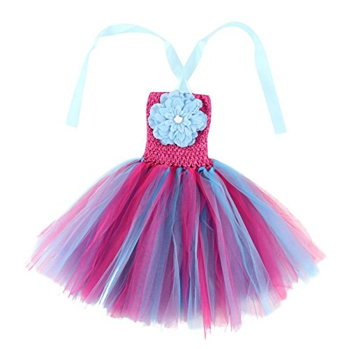 (Wennikids Baby Girls TUTU Dress Crochet Tube Top Baby Pettiskirt with Match Flower Small Light Blue)