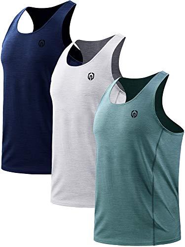Neleus Men's 3 Pack Dry Fit Y-Back Athletic Muscle Tank Top