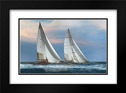 The Chase 40x28 Black Modern Frame and Double Matted Art Print by Ortega, Xavier
