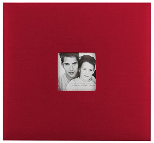 MCS MBI 13.5x12.5 Inch Fashion Fabric Scrapbook Album with 12x12 Inch Pages with Photo Opening, Red (802513) -