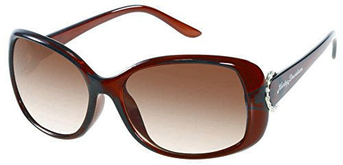 Harley Davidson Round Ring - Harley-Davidson Womens Sun Lifestyle Bling Brown/Brown Sunglasses HDS5020BRN-34