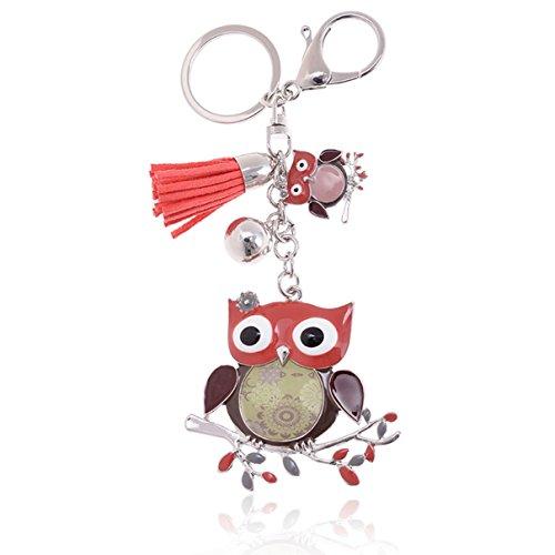 Malibu Tassel - 1 Pc Mini Pocket Owl Tassel Bell Keychain Keyring Keyfob Little Bird Pendant Key Chain Ring Fob Tag Holder Finder Necklace Excellent Popular Cute Wristlet Utility Keychains Tool Teen Women Girls Gift