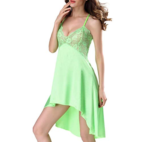 ALLYOUNG Women's Babydoll Lingerie Backless Laces Camisole Romper Bodysuit Siamese Sexy Bodysuit Pajamas Nightwear New 2019 (Green, M)