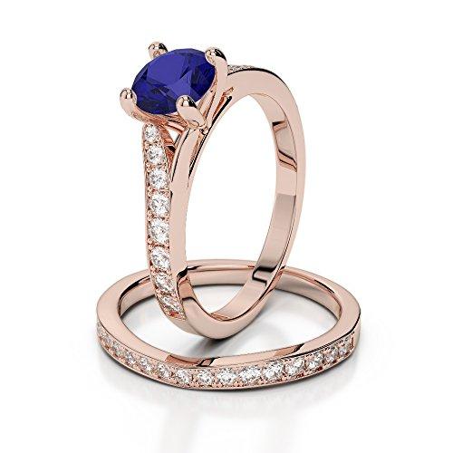 Or Rose 18carats 1CT G-H/VS sertie de diamants ronds Cut Saphir et mariée Bague de fiançailles et ensemble de Agdr-2011