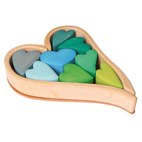 Grimm's Wooden Heart Blocks Building & Stacking Play Set, Green Hearts