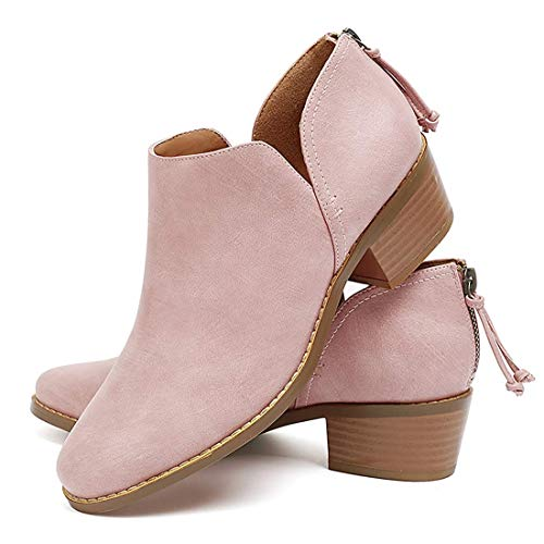 Susanny Ankle Boots for Women Zipper Work Booties Chunky Low Heels Slip on Shoes Pink 10 B (M) - Flat Boots Cowboy