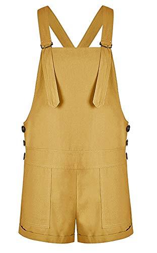 AvaCostume Womens Vintage Adjustable Bib Short Overalls Turmeric L ()
