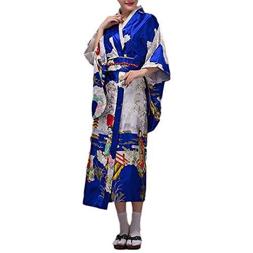 HongH Women's Traditional Japanese Kimono Robe Elegant Floral Yukata Costume OBI Belt Outfit Geisha Costume (Royal Blue) ()