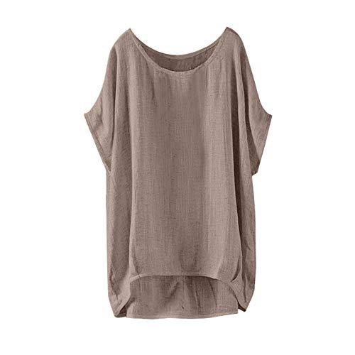 Aniywn Women's Plus Size Linen Vintage T-Shirt Loose Printed Patchwork Short Sleeve Tops Blouse Khaki