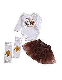 2018 Newborn Infant Thanksgiving Outfits Set,Baby Girl Letter Romper Tops Tutu Skirt
