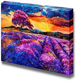Original Oil Painting of Lavender Fields Sunset Landscape