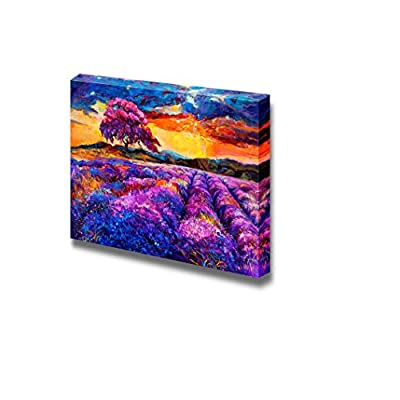 Canvas Prints Wall Art - Original Oil Painting of Lavender Fields on Canvas.Sunset Landscape - 24